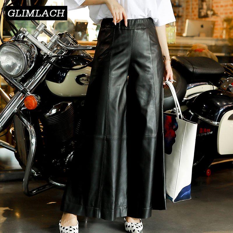 Plus Größe 4XL Frauen Baggy Echt Leder Breite Bein Hosen Frühjahr Neue Hohe Taille Weichen Schaffell Beiläufige Lose Weibliche Leder hosen