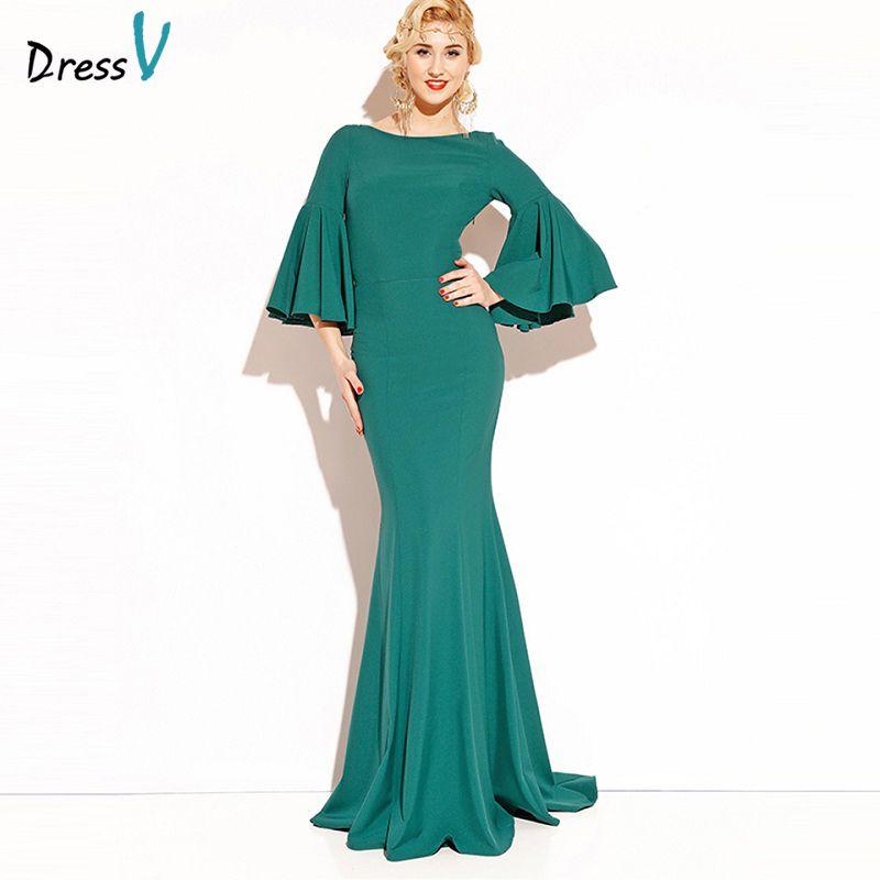 DressV изумрудно-зеленый длинные 2017 вечернее платье 3/4 рукава спинки Дешевые Свадебная вечеринка торжественное платье элегантное вечернее пл...