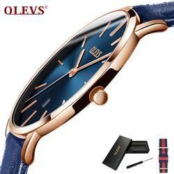 Olevs Ultra Tipis Fashion Jam Tangan Gelang Jam Kulit Bisnis Jam Tangan Tahan Air Tahan Gores Watch Clock G5869P