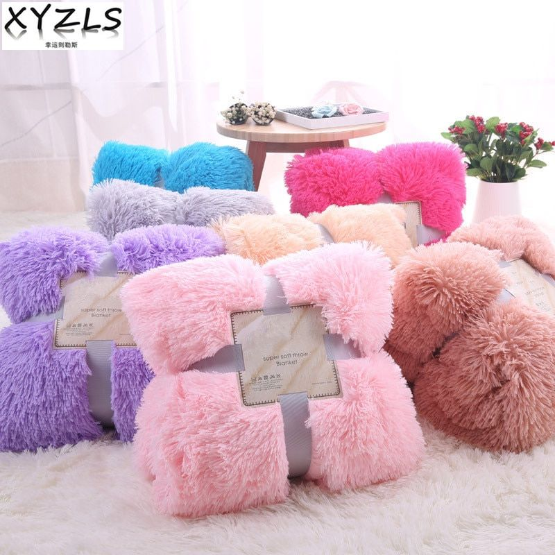 XYZLS Modern Spring/Autumn <font><b>Warm</b></font> Solid Blanket Beige Grey Pink Blue Plush Home Blanket Nap Blanket On Sofa/Settee Customized