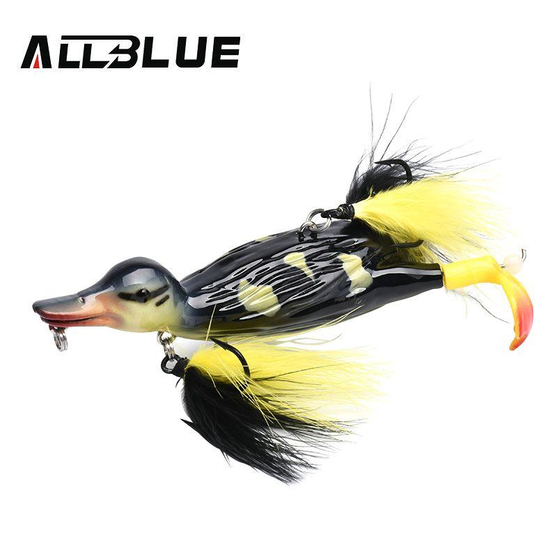 ALLBLUE 3D stupide leurre de pêche en eau de surface de canard flottant appâts artificiels plissant et éclaboussant les pieds dur matériel de pêche Geer