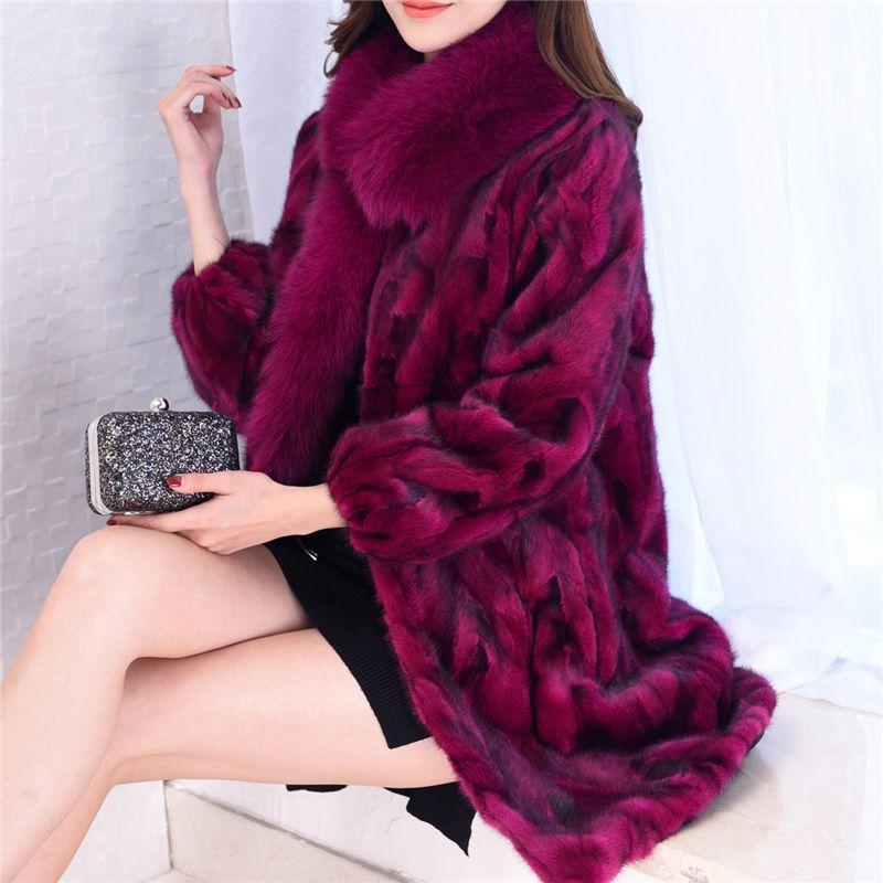 Natural Mink Fur Coats Outerwear Women Real Fox Fur Collar Warm Winter Fur Jackets Ladies Genuine Leather Fur Overcoat Plus Size