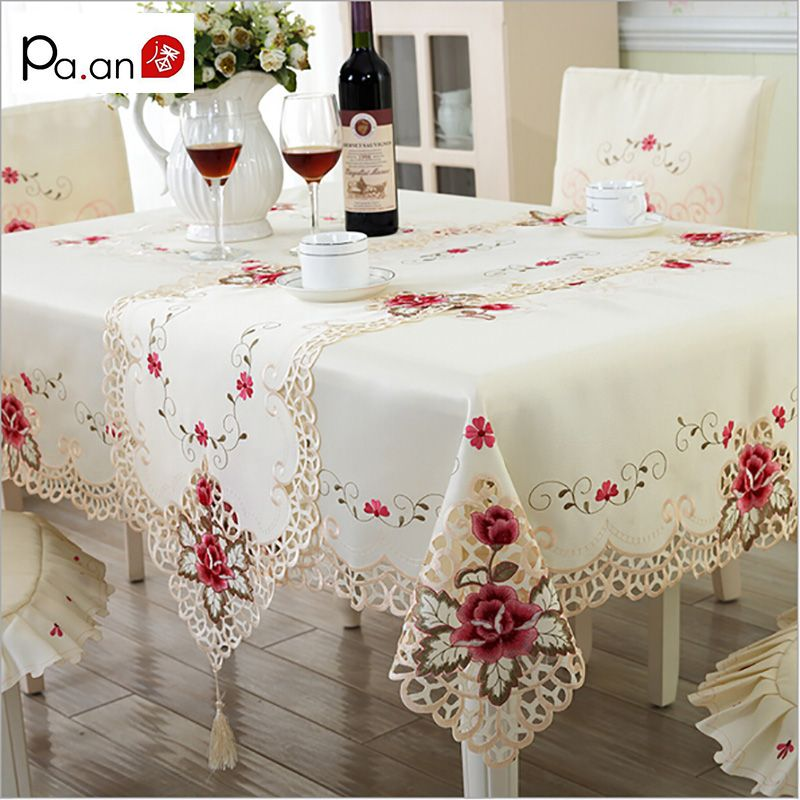Europe Polyester nappe brodée Floral creux Table couverture rectangulaire élégant maison fête mariage décoration Pa. an