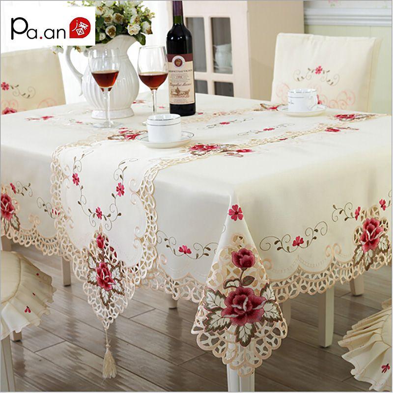 L'europe nappe en polyester Brodé Floral Creux Couverture De Table Rectangulaire Élégante Maison décoration de fête de mariage Pa. un