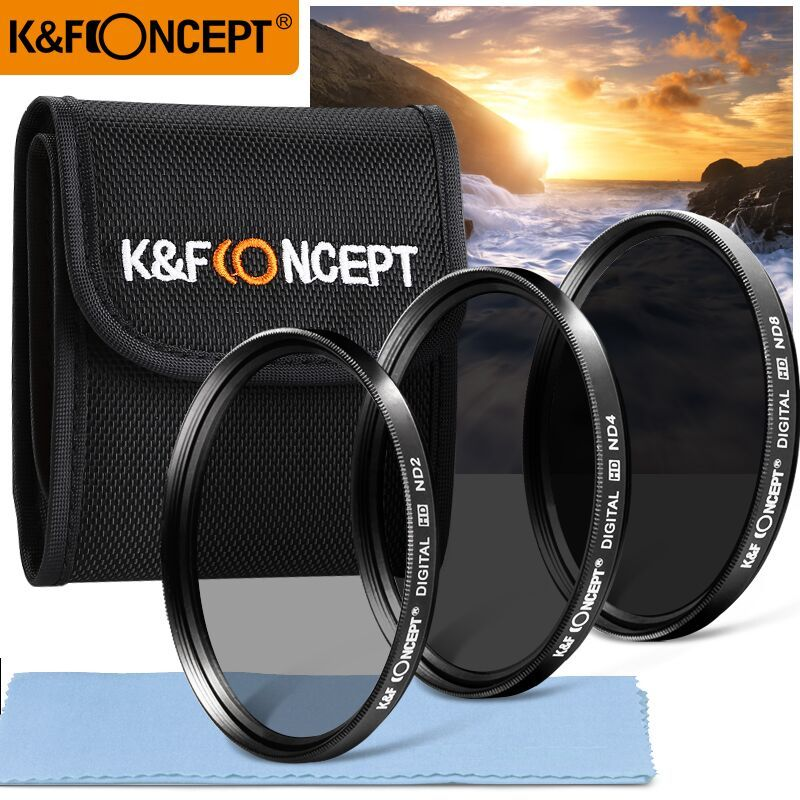 Kit filtre objectif K & F CONCEPT densité neutre 52/55/58/62/67/72/77mm ND2 + ND4 + ND8 + sac + chiffon propre pour Nikon Canon Sony Sigma DSLR