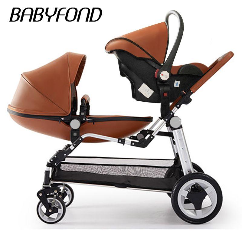 Hohe qualität luxus Twin baby kinderwagen pu kinderwagen baby sitzen und liegen klapp vier rad doppel kinderwagen marke pram