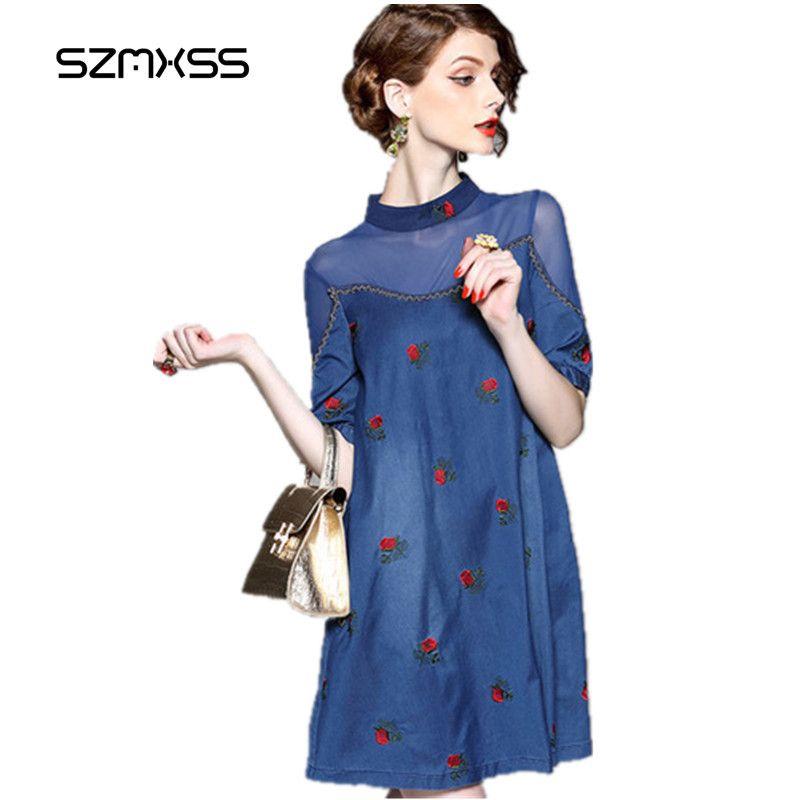 SZMXSS Jeans Dress 2017 Women Denim Dresses Sexy Perspective Embroidered Elegant A-Line Cowboy Blue Party Vestidos 10pcs whosale