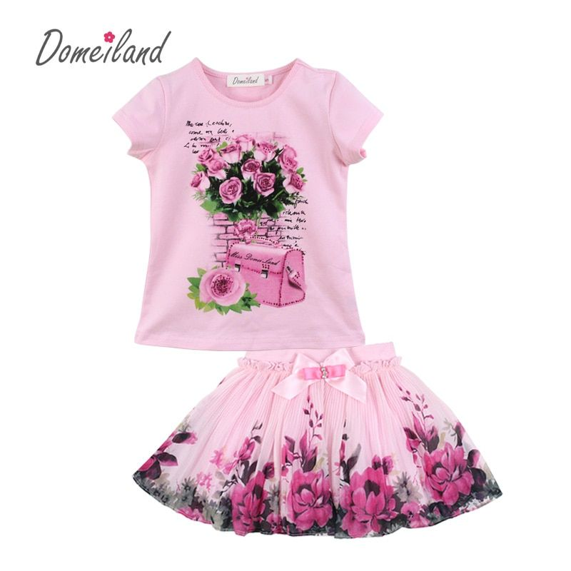 2017 fashion summer domeiland children clothing sets kids girl outfits print floral short sleeve cotton tops skirt suits clothes
