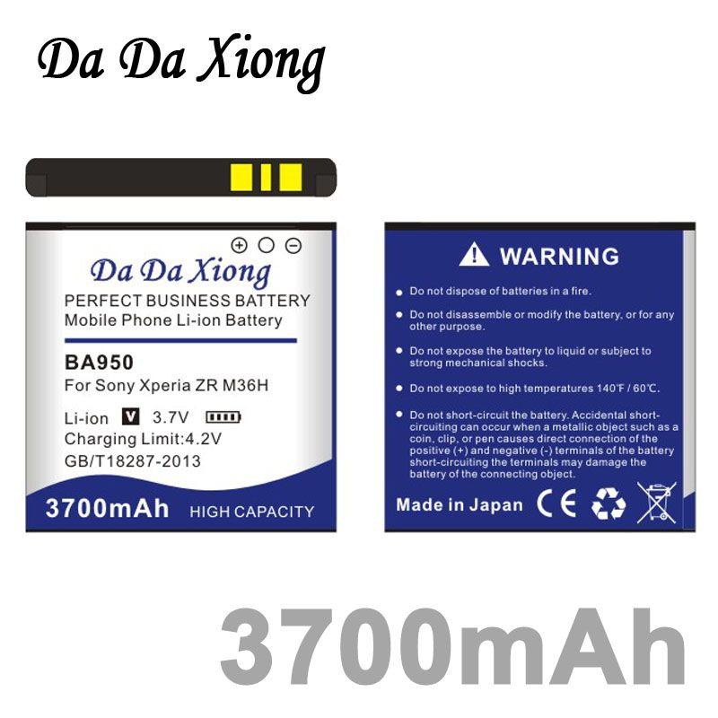 Da Da Xiong 3700 mAh BA950 Li-Ion Telefon Batterie für Sony Ericsson Xperia ZR SO-04E M36h C5502 C5503 AB- 0300