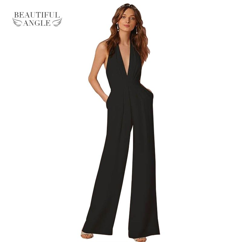 2017 Woman Sexy Jumpsuits Backless  Elegant Female Sleeveless Hanging Neck Piece Pants Women's Jumpsuits Solid Color White Black