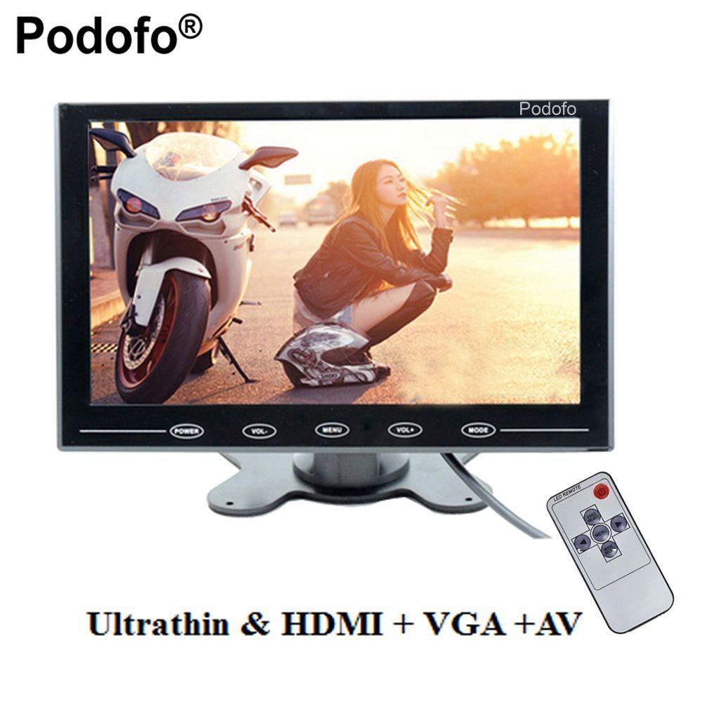 Podofo 9 LCD-Monitor TFT Mini Farbe Monitor 2 Videoeingang Auto Monitor Bildschirm Für PC CCTV HDMI AV-In sicherheit Monitor