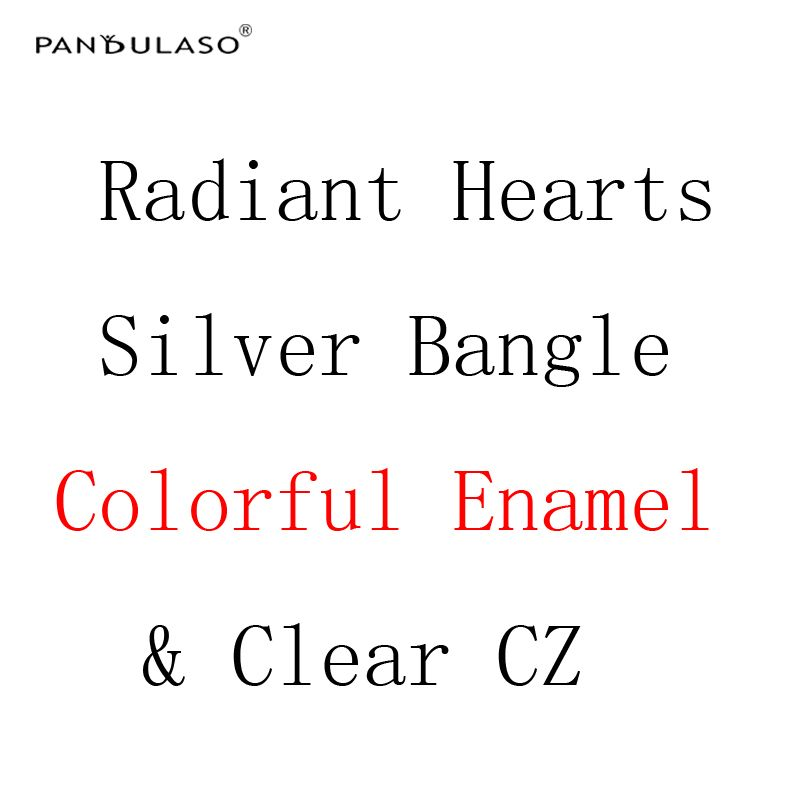 Pandulaso Radiant Hearts Silver Bangles for Women Colorful Enamel & Clear CZ Crystal Bracelets & Bangles Silver 925 Jewelry