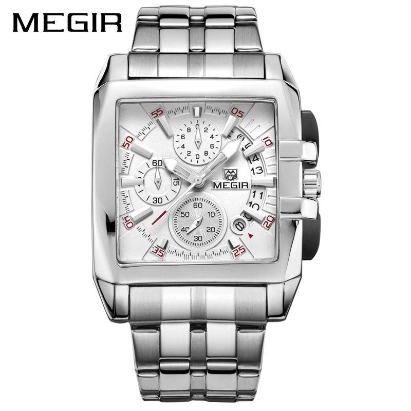 MEGIR Original Luxus Herrenuhr Edelstahl Datum Herren Quarzuhren Business Große Zifferblatt Armbanduhr Relogio Masculino 2018