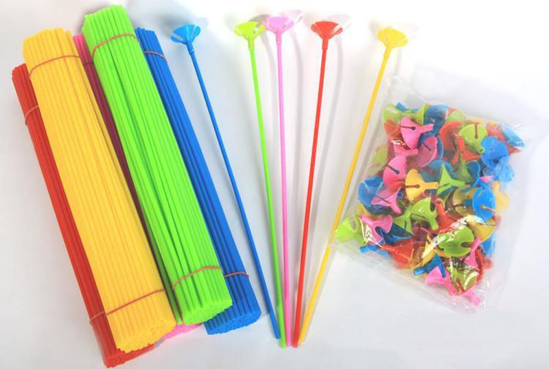 100pcs High Quality Latex Balloon Stick Rods Plastic Accessories 42cm PVC Balloon Holder Sticks Multicolor Cup Wedding Decora