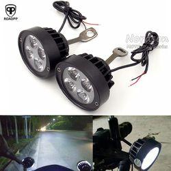 ROAOPP العالمي 2 قطع Led دراجة نارية دراجة نارية بقعة ضوء أضواء مساعدة مصباح الجانب مرآة جبل تركيب ضوء