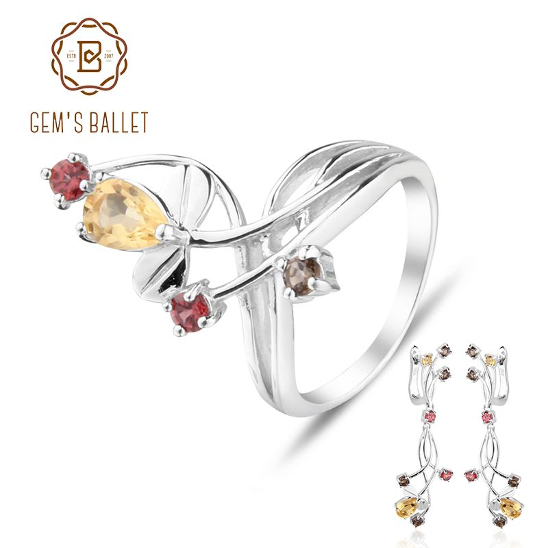 GEM'S BALLET Citrine Garnet Smoky Quart Rings Clip Earrings 925 Sterling Silver Natural Gemstone Fine Jewelry Set For Women Gift