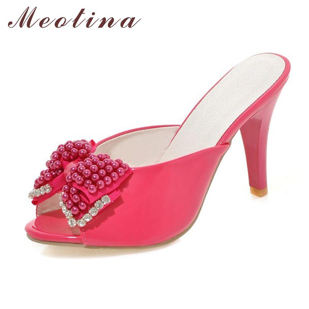 Meotina femmes sandales fête diapositives rouge soirée talons été Peep Toe perles dames pantoufles cristal chaussures rouge blanc taille 9 10