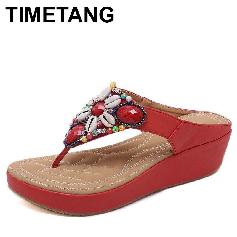 Calendrier nouveau Style ethnique offre spéciale bohème perlée pente avec grande taille 35-42 sandales chaussures confortables femme sandales talon Heigt