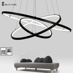 Glod Noir Blanc Couleur Moderne pendentif lumières pour salon salle à manger 4/3/2/1 Cercle anneaux LED Éclairage plafond Lampe appareils