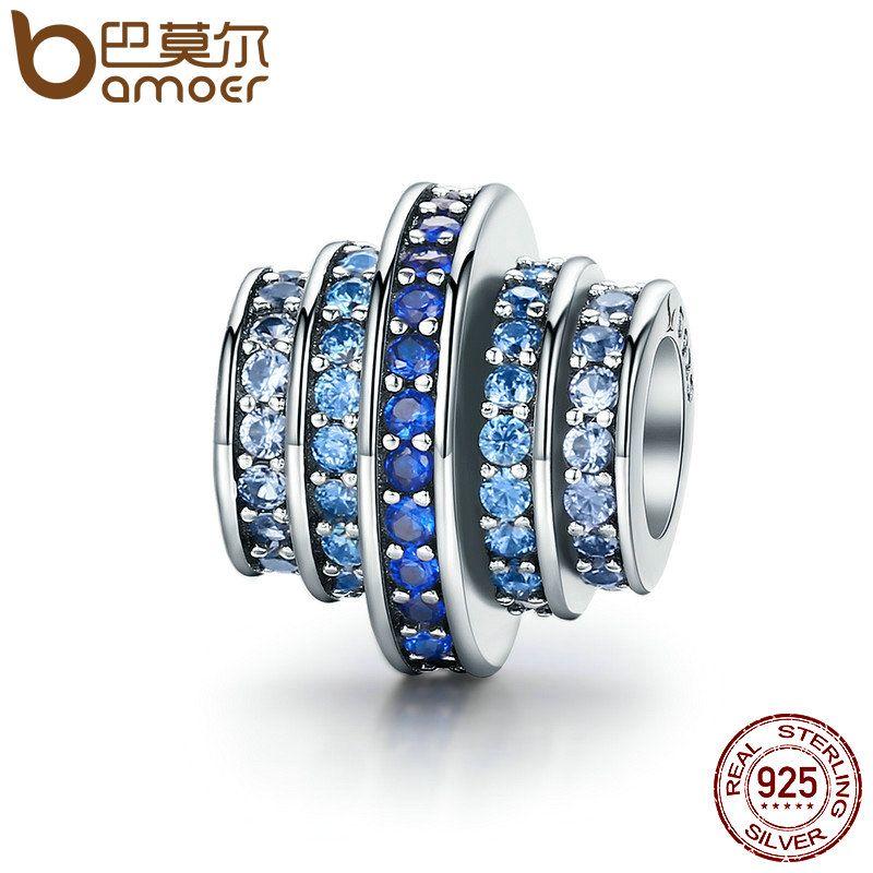 BAMOER Genuine 925 Sterling Silver Gradual Change Round Wheel Blue Melody Clear CZ Crystal Charms fit Bracelets Jewelry SCC129