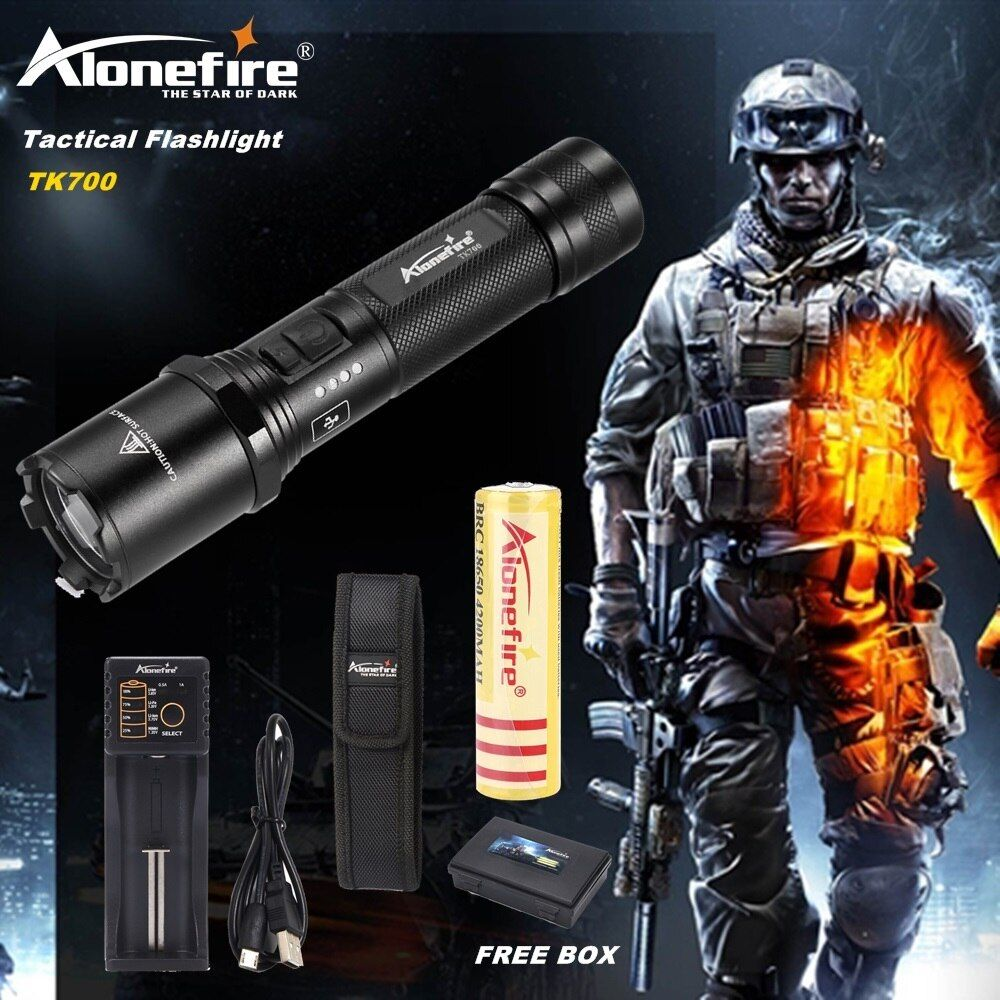 AloneFire TK700 L2 led flashlight lamp USB rechargeable led torch tactical lamp lantern Self-defense police flashlight