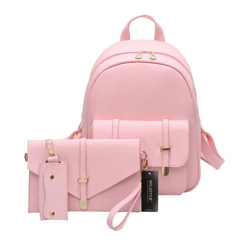 3 unids mujeres pu Mochila De Cuero lindo 3 Sets bolsa Mochilas y bolsas para el colegio para adolescentes Niñas Bolso Negro Mochila mujer Set sac