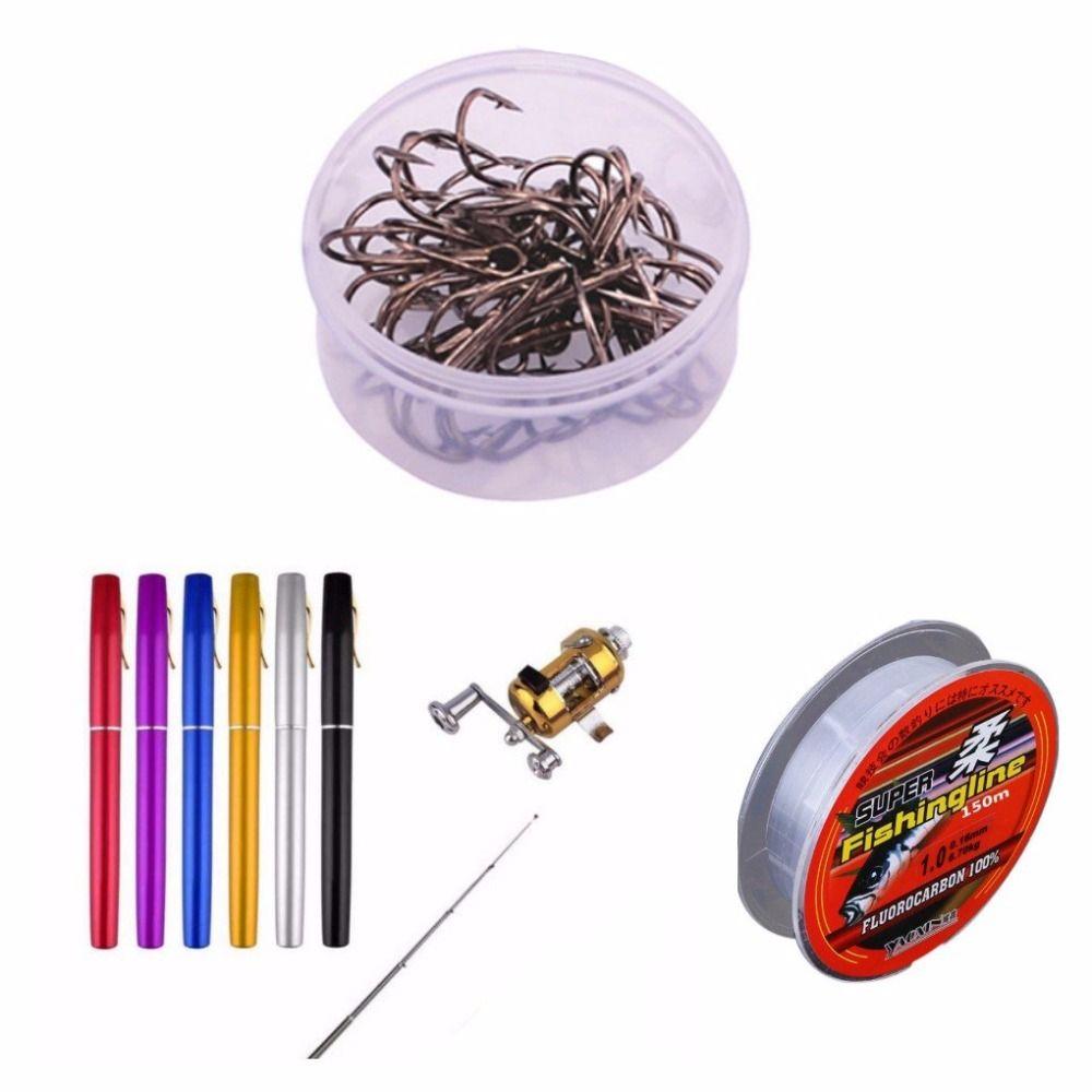 Balight Portable poche télescopique Mini pôle de pêche stylo forme plié cannes à pêche avec roue de bobine nouveau