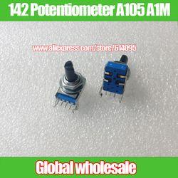 2 pcs 142-type Horisontal Tunggal Rotary Potensiometer A105 A1M/4 Pins/Panjang Shank 15MMF