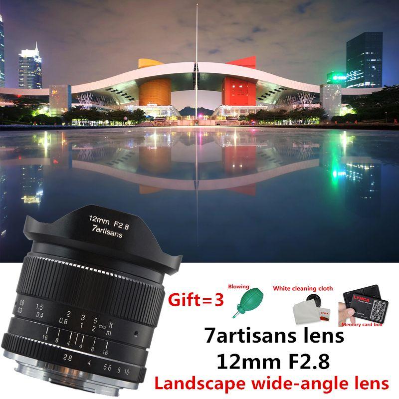 7artisans 12mm f2.8 Ultra Wide Angle Lens for Canon EOSM Fuji FX M43 E-mount APS-C Mirrorless Cameras A6500 A6300 XT2 Lens