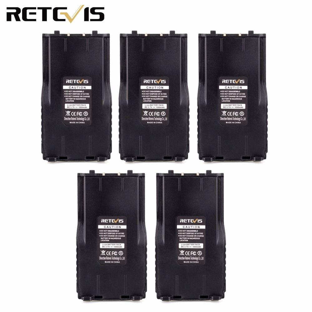 5pcs Li-ion Radio Battery Pack 1000mAh for Retevis RT7 Two Way Radio Walkie Talkie