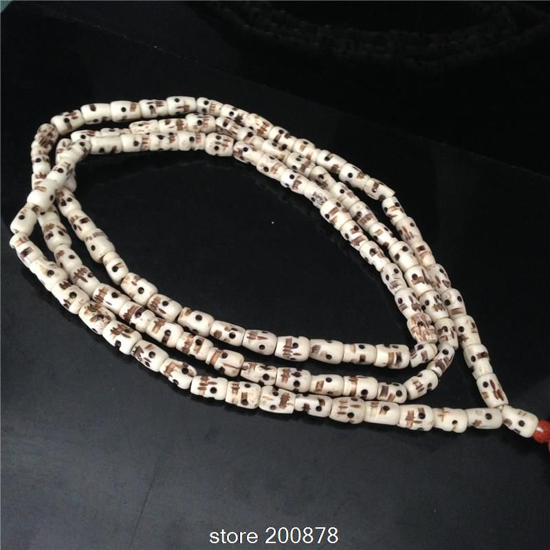BRO915 Tibetan 108 white Yak bone Skull Rosary 12-13mm Tibet Hand Prayer beads malas for Man Skull Head Amulets