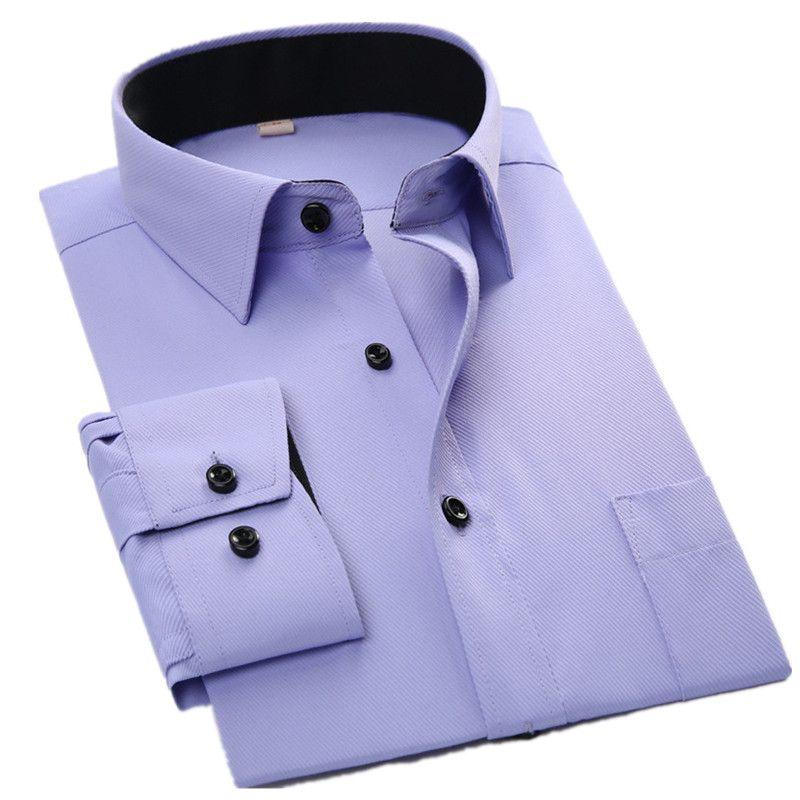 Long Sleeve Shirt Men 2017 Autumn New Fashion Designer High Quality Solid Shirt Non Iron Slim Fit Business Shirts Twill