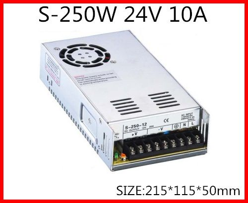 S-250-24 250W 24V 10A  Single Output Switching power supply for LED Strip light  AC-DC With Fan