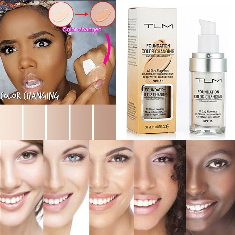 New Arrival 30ml TLM Color Changing Foundation Makeup Base Nude Face Liquid Cover Concealer Dropshipping