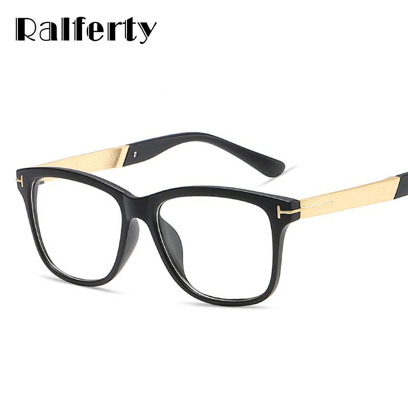 Ralferty Fashion Square Glasses Women Men Eyeglasses Frame With Clear Lens Vintage Optic Myopia Frames Black Spectacles 2202