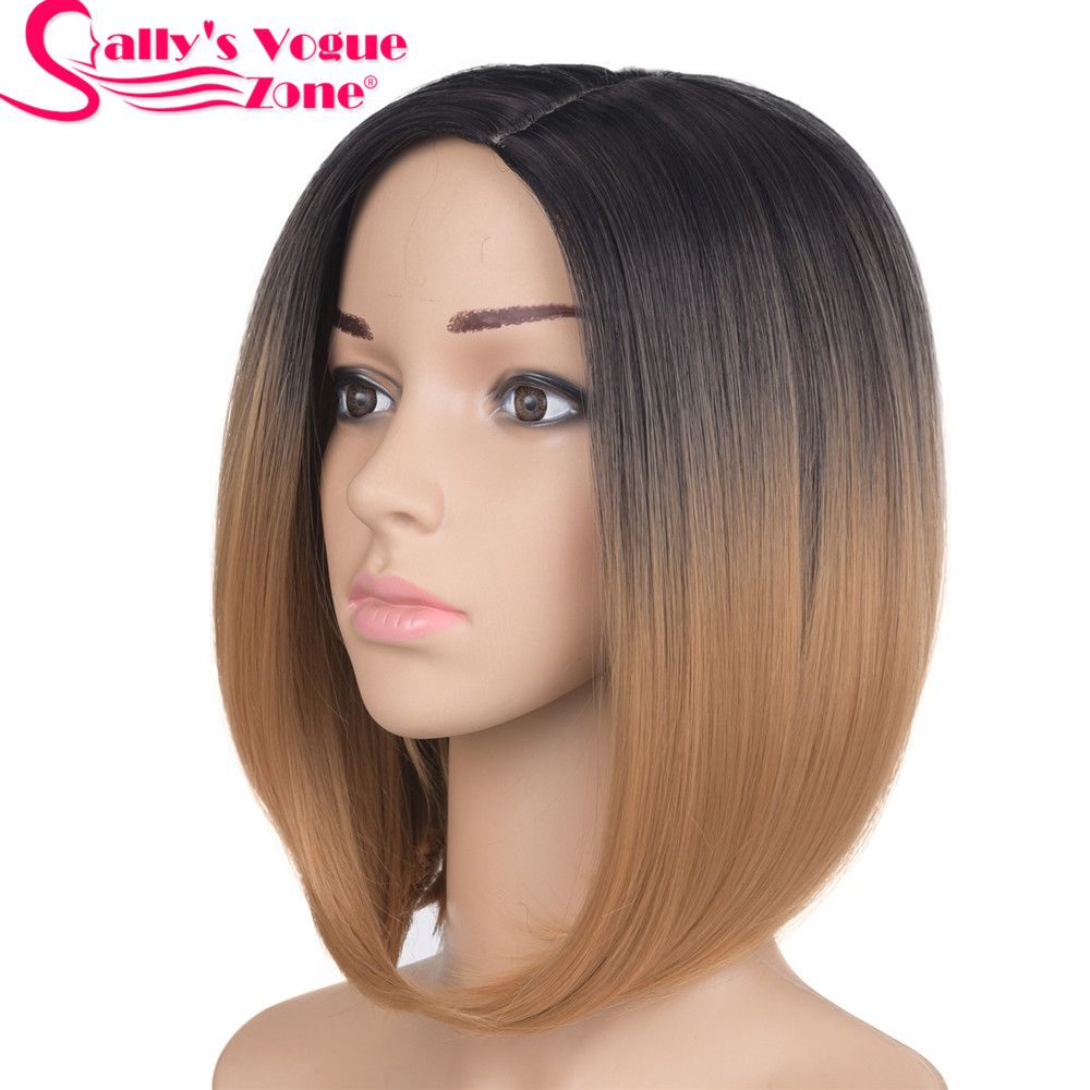 Sallyhair средняя часть 12 дюймов высокое японское Температура Волокно химическое короткие Ombre Черный Блондинки Цвет боб парик для Для женщин