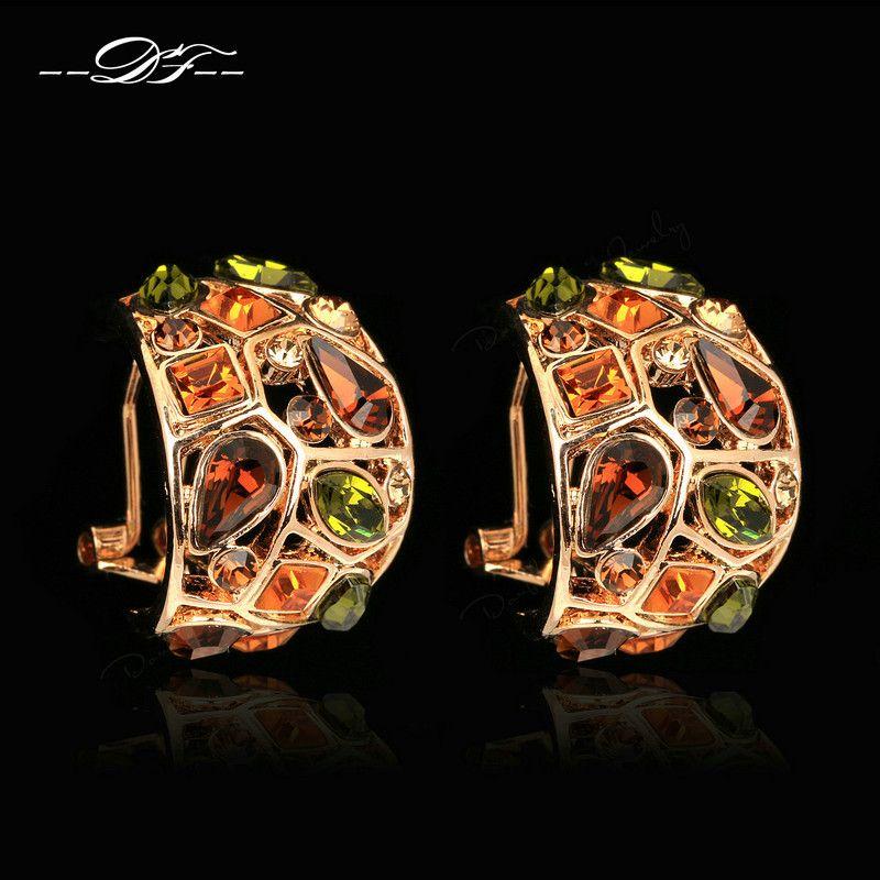 Преувеличены роскошный многоцветные Хрустальный партии Клипсы розовое золото Цвет модный бренд старинные ювелирные изделия для женщин ...