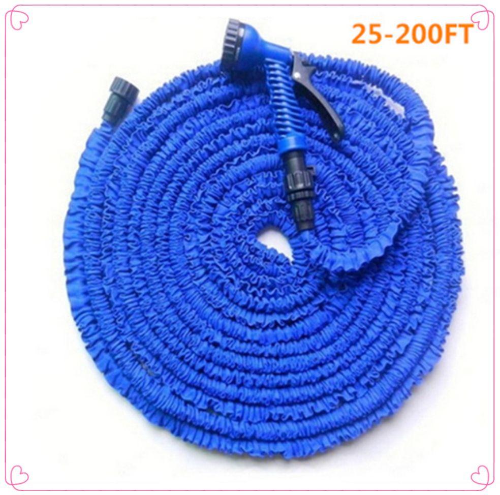 Tuyau flexible magique de voiture chaude tuyau d'arrosage extensible enrouleurs tuyau d'eau de jardin pour connecteur d'arrosage bleu vert 25-200FT