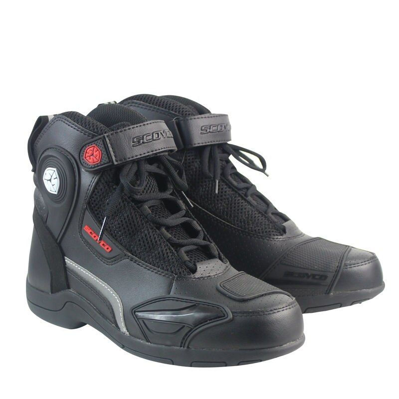 SCOYCO MT015 Moto Racing Leather Motorcycle Boots Shoes Motorbike Riding sport road SPEED professional botas Men Women Black
