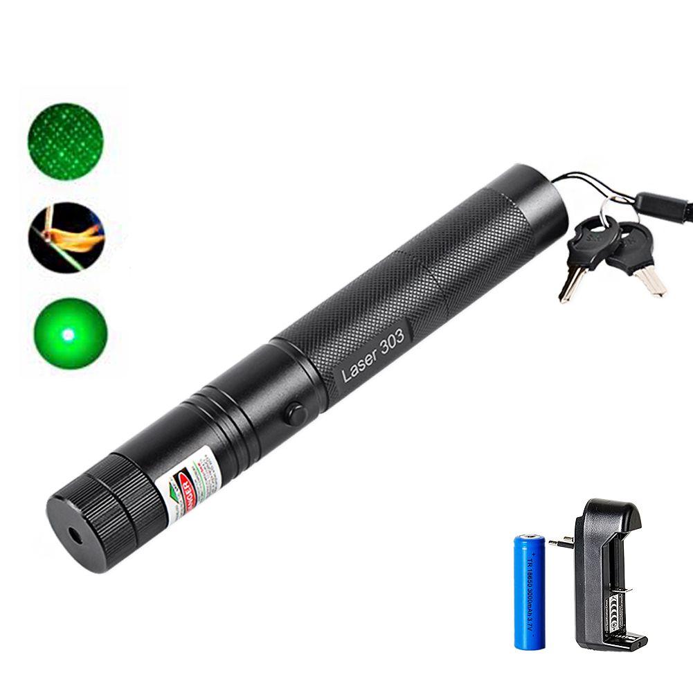 Высокая мощность Зеленая лазерная указка 532nm 5 МВт 303 лазерная ручка Регулируемая Звездная головка горящая спичка лазер с 18650 батарея + заряд...