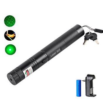 Зеленый лазерный яркий указатель лазерная ручка 303 высокой мощности лазер 532nm 5 мВт регулируемая сжигание матч с перезаряжаемой батареей 18650