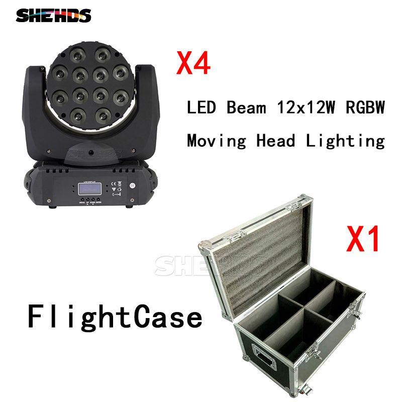 4 teile/los Mit Flug Fall FÜHRTE Strahl Moving Head Licht 12x12 watt RGBW 9/16 Kanäle Mit DMX Kabel contorller DJ Party Club Lichter