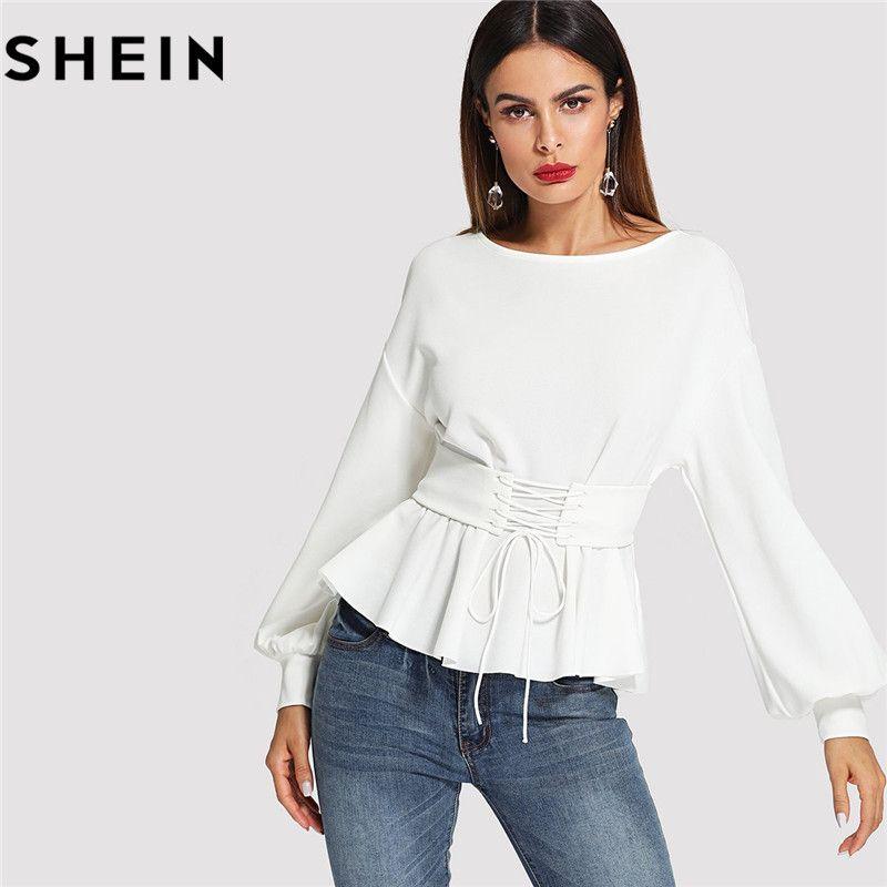 SHEIN Beige Long Lantern Sleeve Lady <font><b>Work</b></font> Elegant Blouses Fashion 2018 Spring Autumn Corset Belt Pleated Hem Solid Tops Clothing