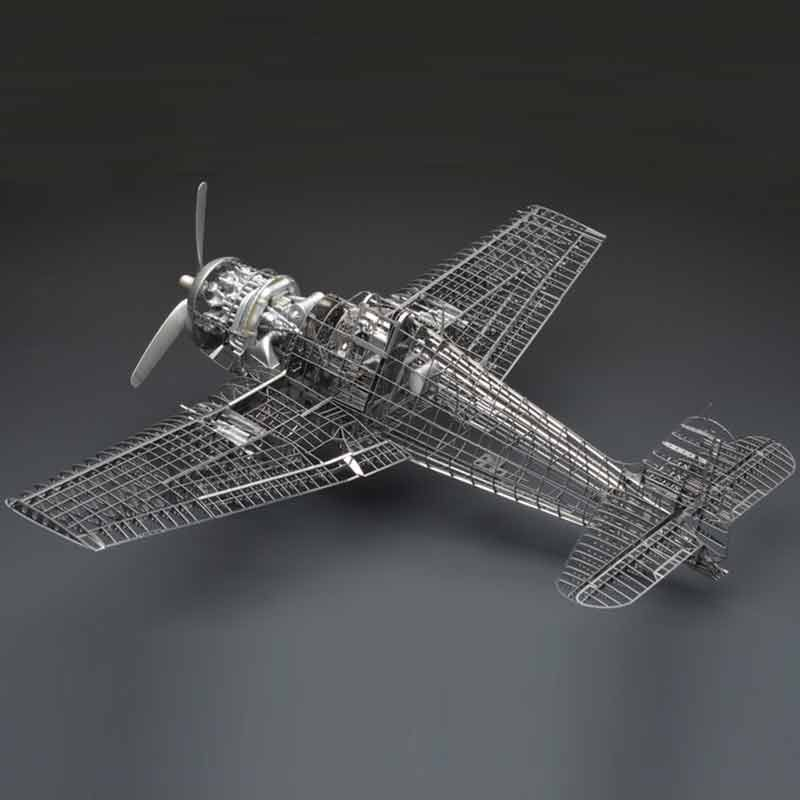 All-metal alloy DIY assembly aircraft model 1/48 F6F-5 hell cat fighter skeleton puzzle