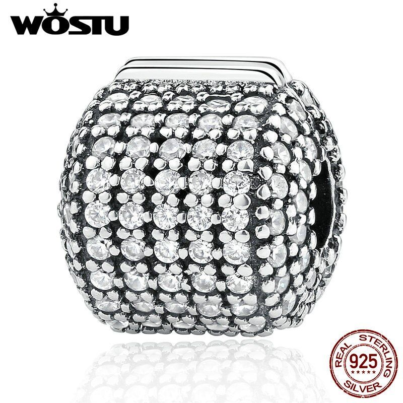 Hot Sale Real 925 Sterling Silver Glamorous Pave Barrel Clip Charm Beads Fit Original WST Bracelet Authentic Jewelry Gift