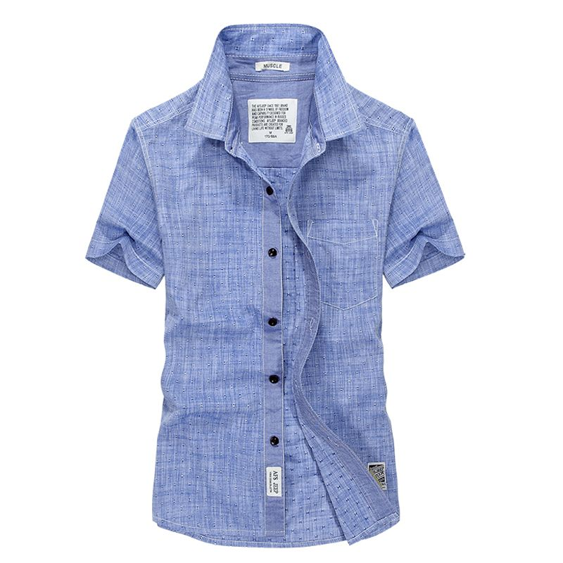 Grande taille décontracté hommes à manches courtes camisa masculina été coton solide style européen chemise en lin hommes marque robe chemise