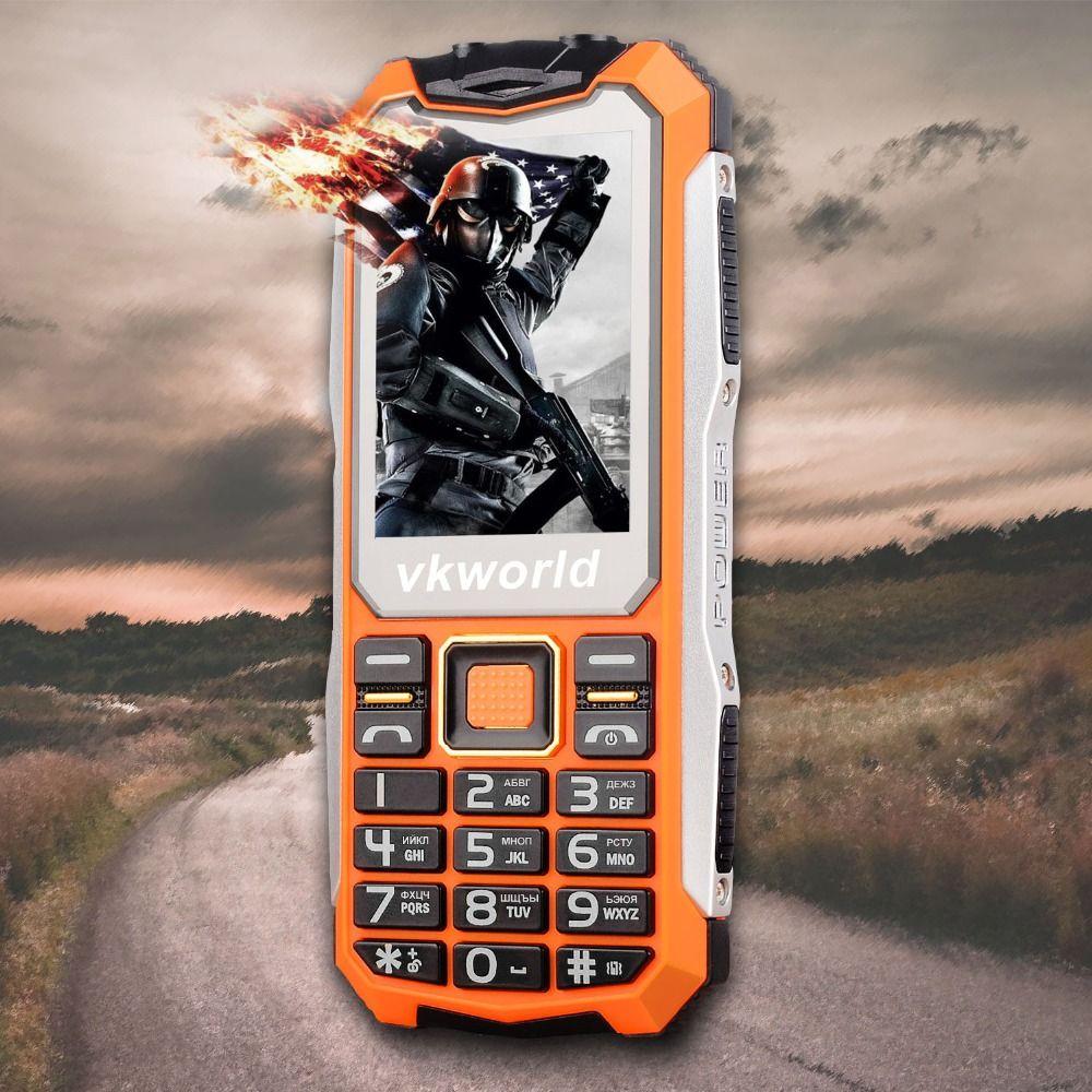 VKWorld Pierre V3S Quotidienne Étanche Mobile Téléphone SPRD 6531D 2.4 pouce Écran Clavier Russe 2200 mAh Longue Attente Double LED