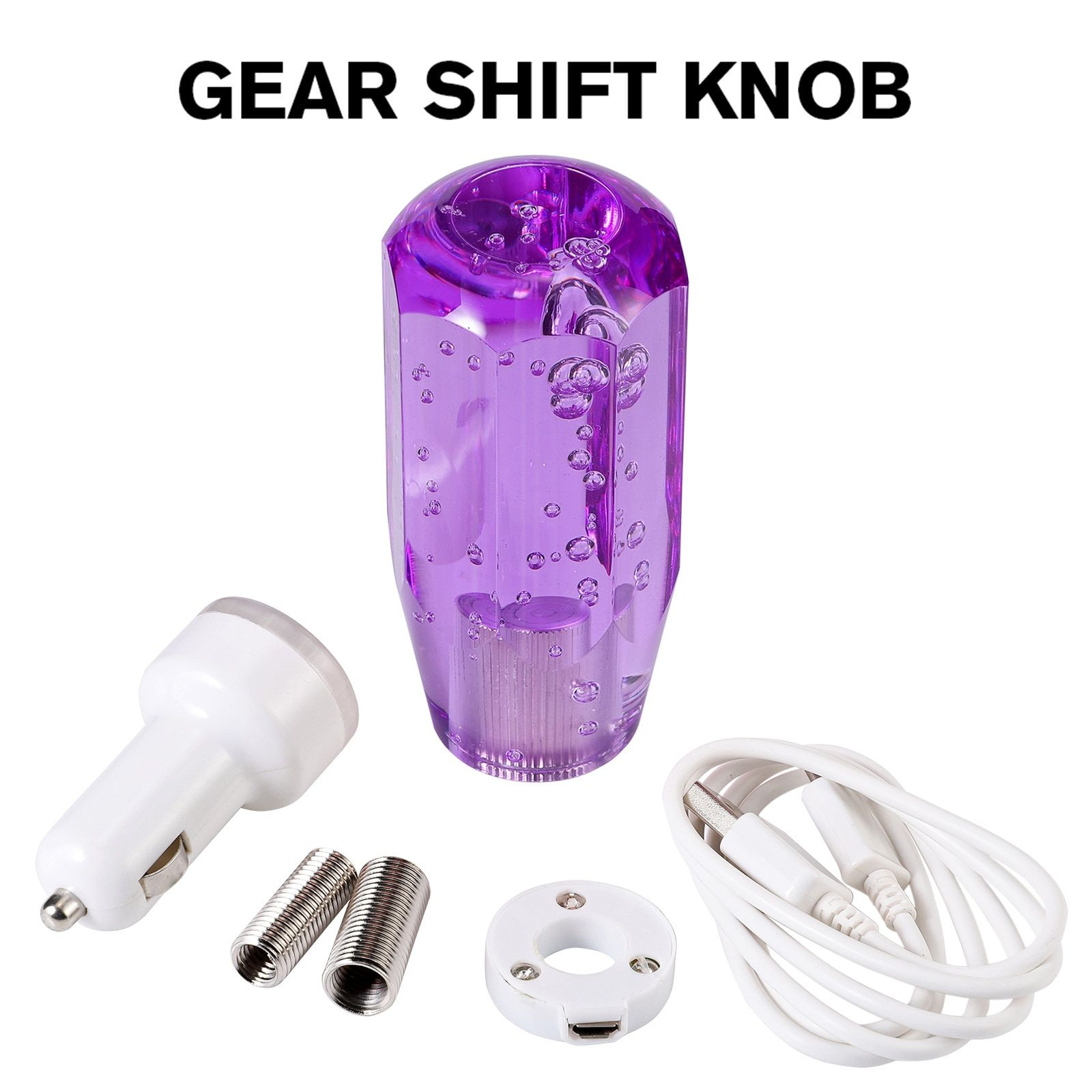 New Purple Universal Auto Car Manual Gear Shift Knob Stick Shifter Lever LED Light pomo palanca cambio