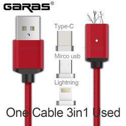 USB tipo C/micro USB/Lightning 3IN1 cable magnético USB-C tipo-c carga rápida adaptador del adaptador cable para iPad teléfono móvil cables