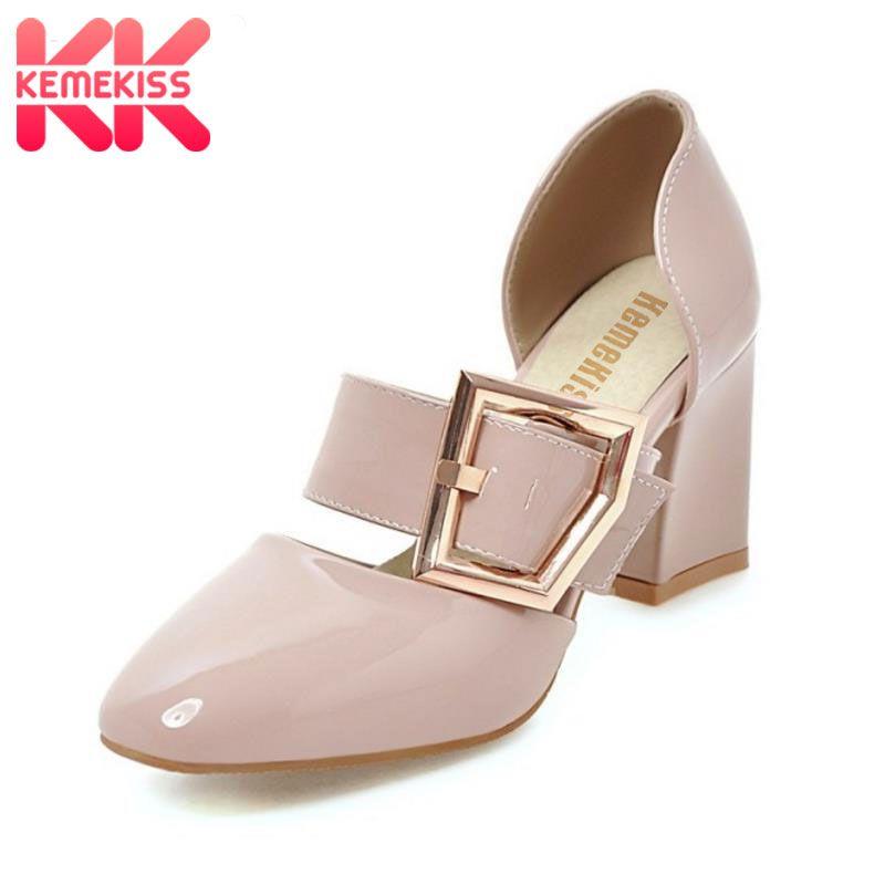 KemeKiss Size 33-43 Basic Women High Heels Sandals Square Toe Buckle Thick Heel Shoes Women Party Office Lady Sandalias Footwear